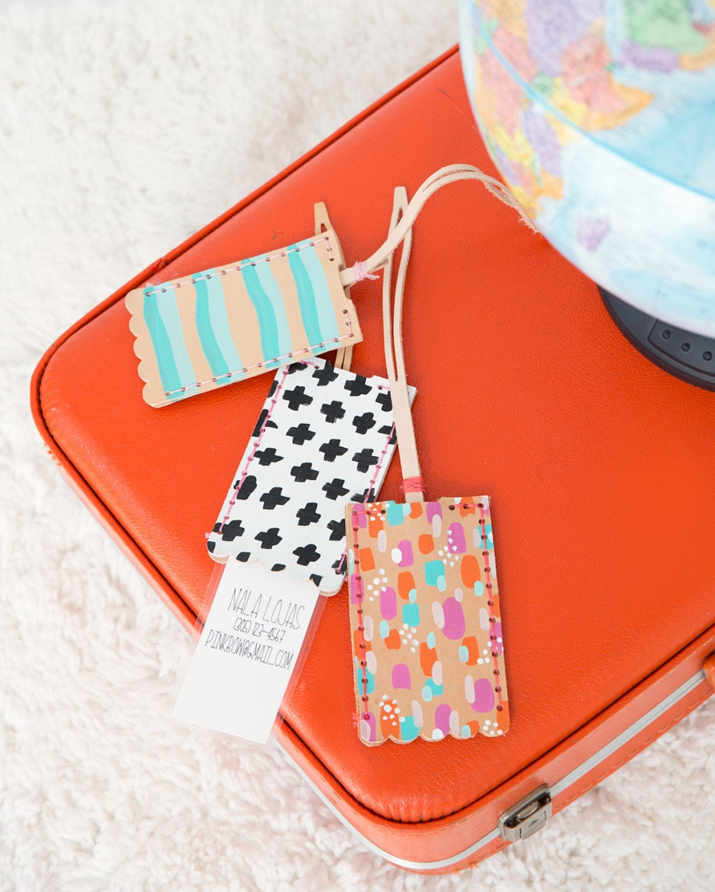 DIY Leather Luggage Tags | damask love