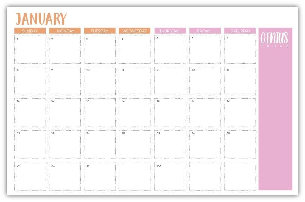 Free Printable Agenda Calendar Damask Love