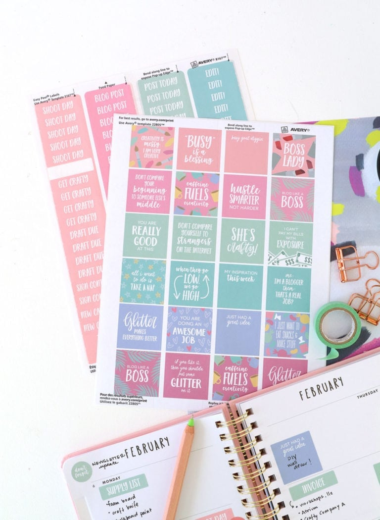 Printable Planner Stickers for Bloggers