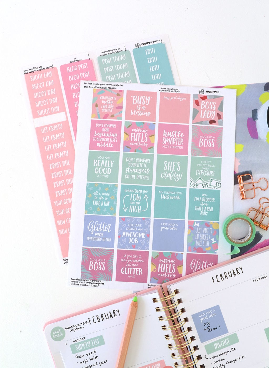 Printable Planner Stickers for Bloggers | damask love