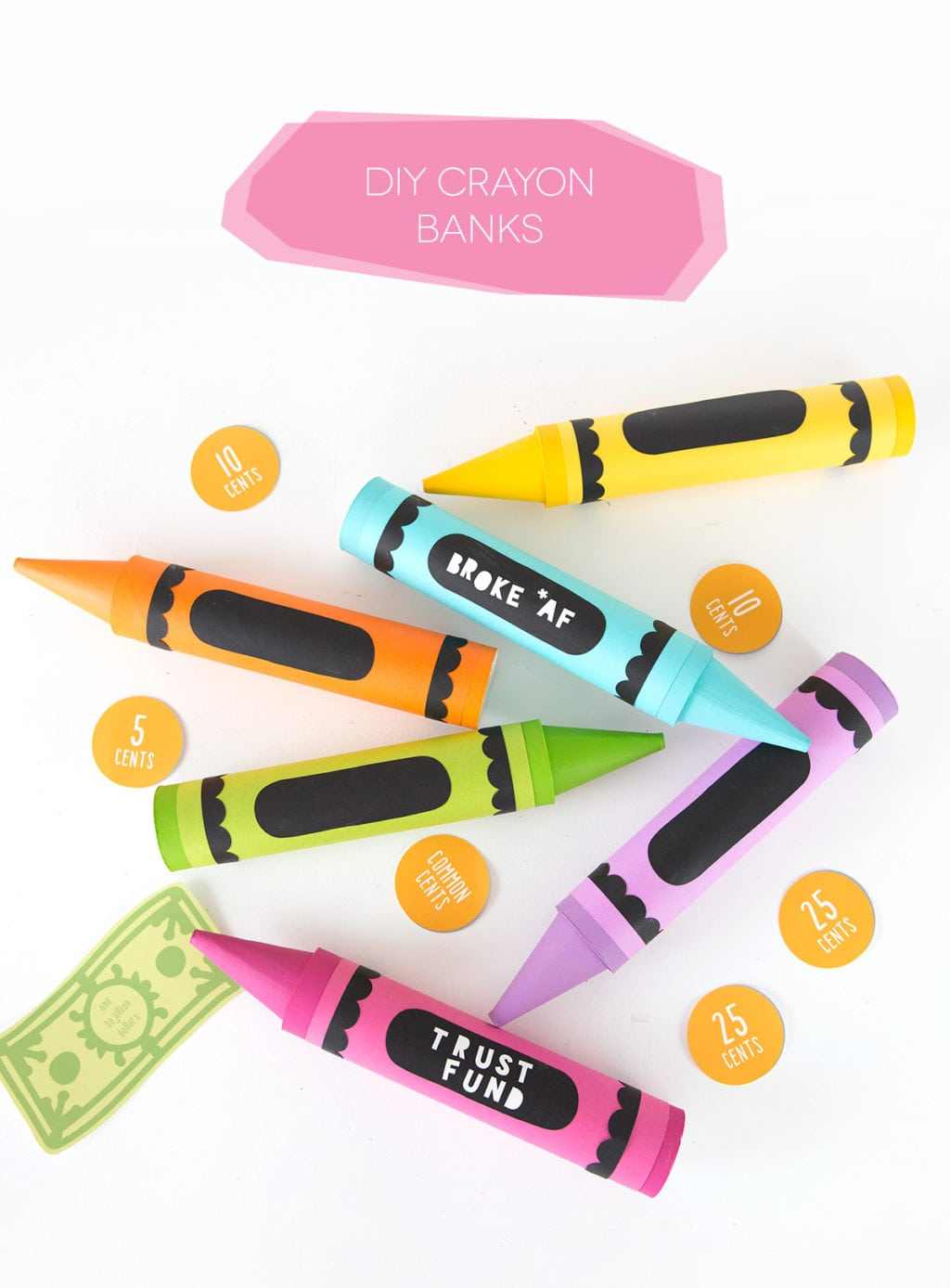 DIY Crayon Mail Tube Bank | damask love