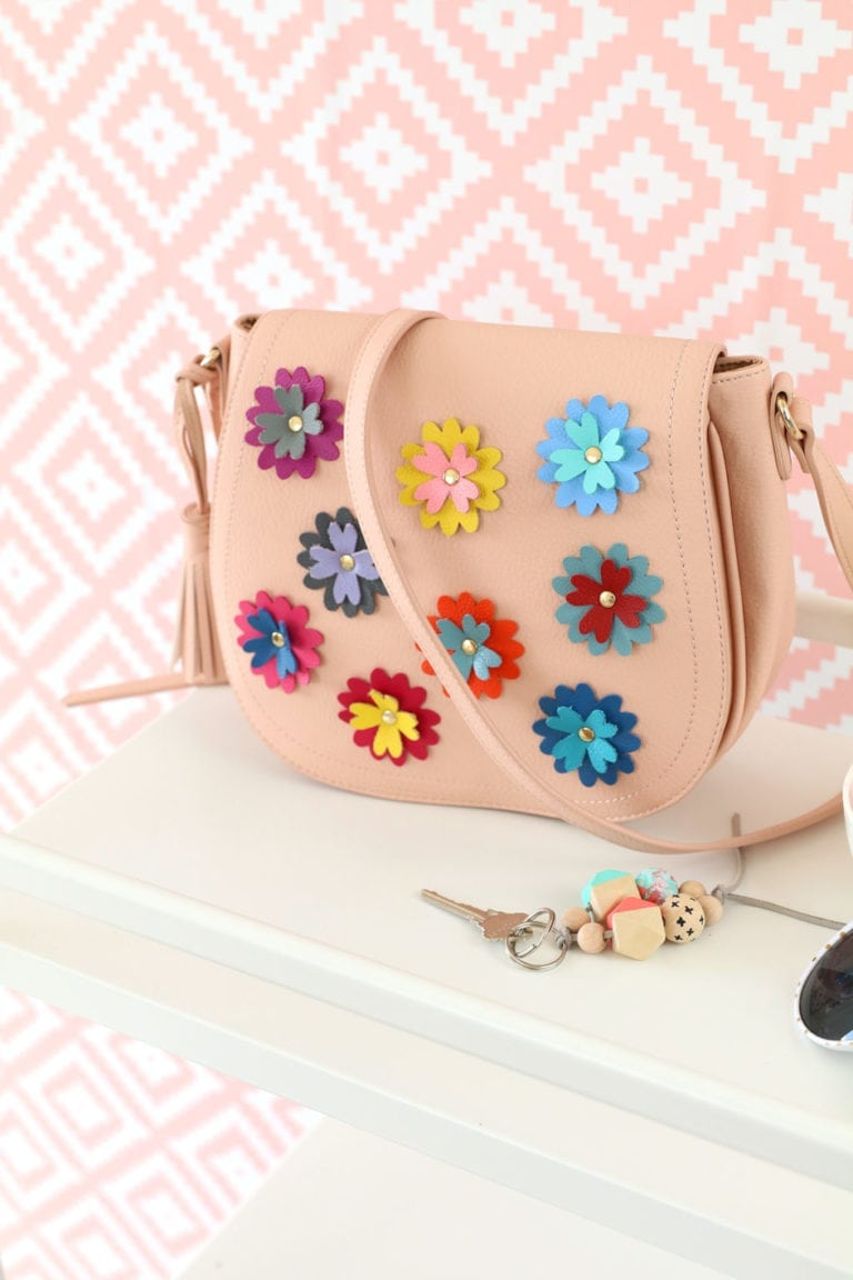 DIY Leather Flower Crossbody Purse