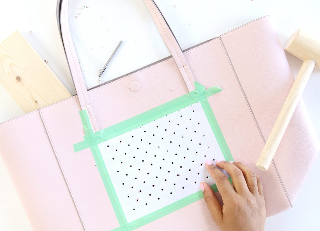 DIY Perforated Leather Flair Tote | damask love