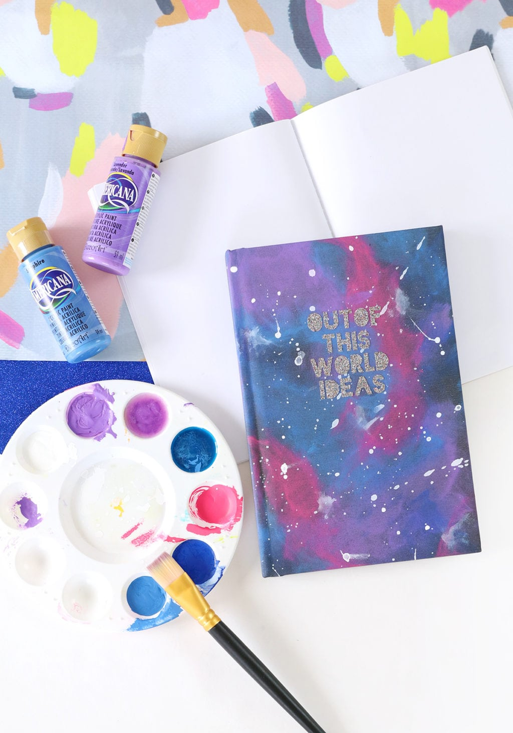 Diy glitter notebook cover - Diy Galaxy Painted Notebook Damask Love