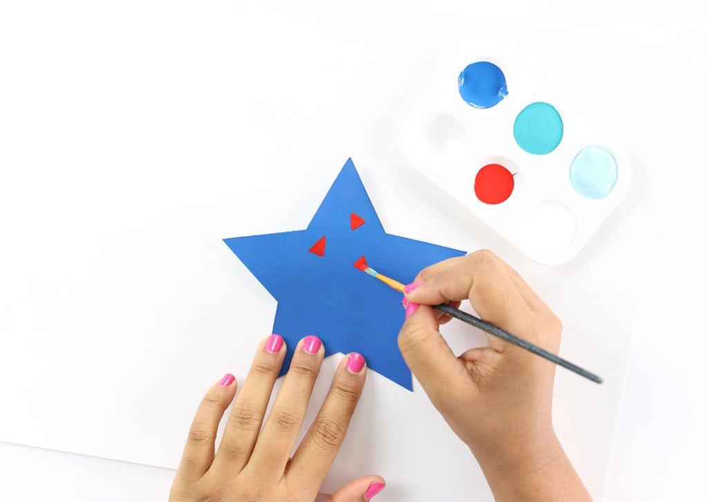 Modern Patriotic Painted 3D Stars | damask love