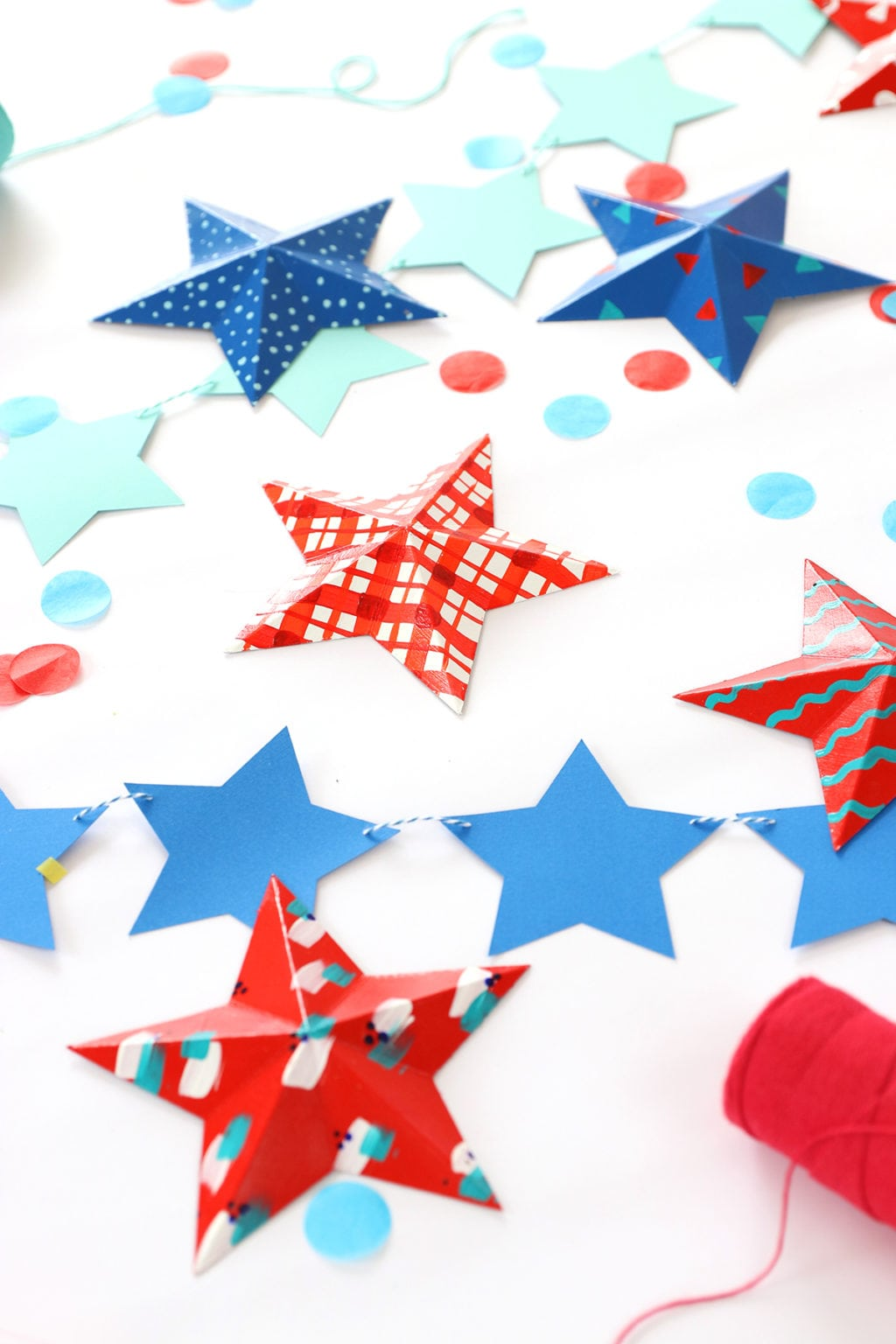 Modern Patriotic Painted 3D Stars | damask love