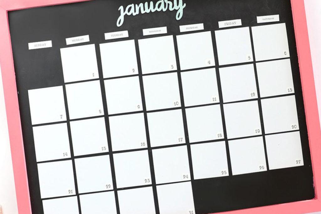 DIY Magnetic Whiteboard Calendar Damask Love