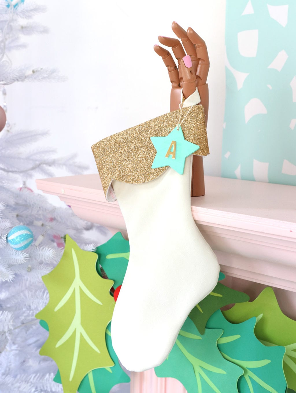 DIY Velvet and Glitter Stocking | damask love