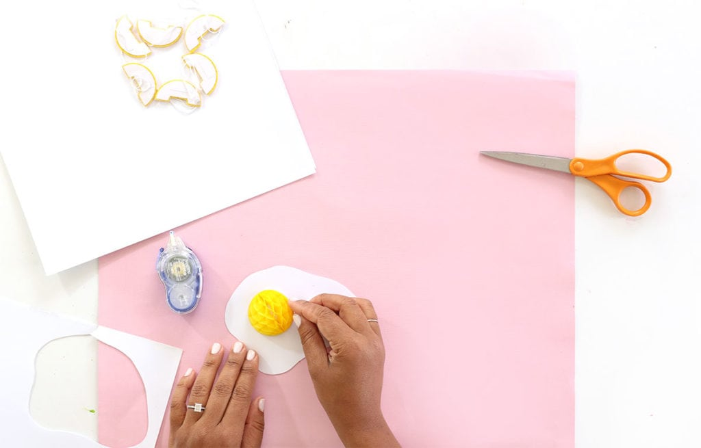 Learn how to make a Fried Egg Easter Brunch Backdrop and add some whimsy to your holiday festivities