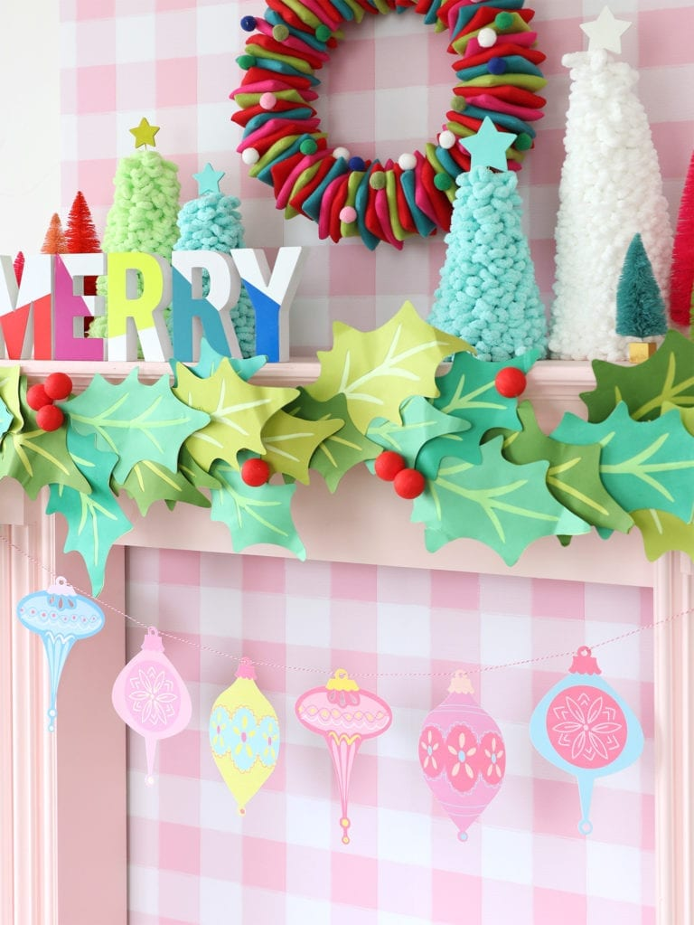 Printable Retro Holiday Garland