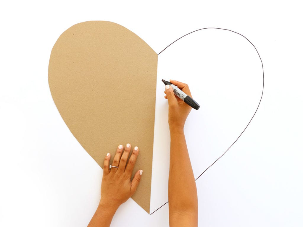 tracing a heart onto foam board