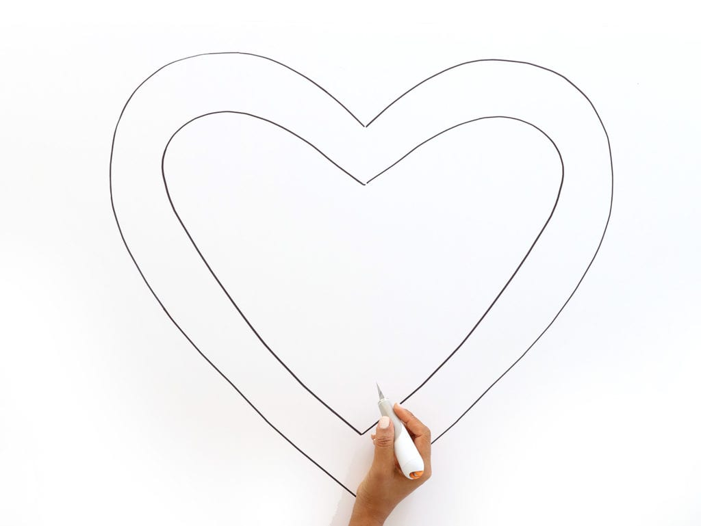 cut heart shape from foam board