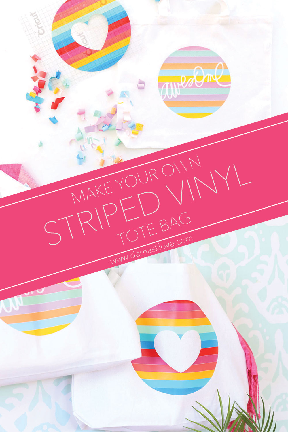 How To Create A Striped Iron On Vinyl Tote Bag Damask Love