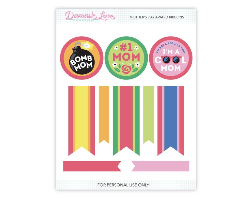 image regarding Printable Award Ribbons known as Printable Moms Working day Award Ribbons Damask Take pleasure in