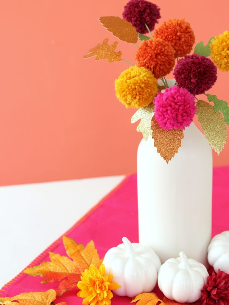 Fall Table Centerpiece made with pom poms