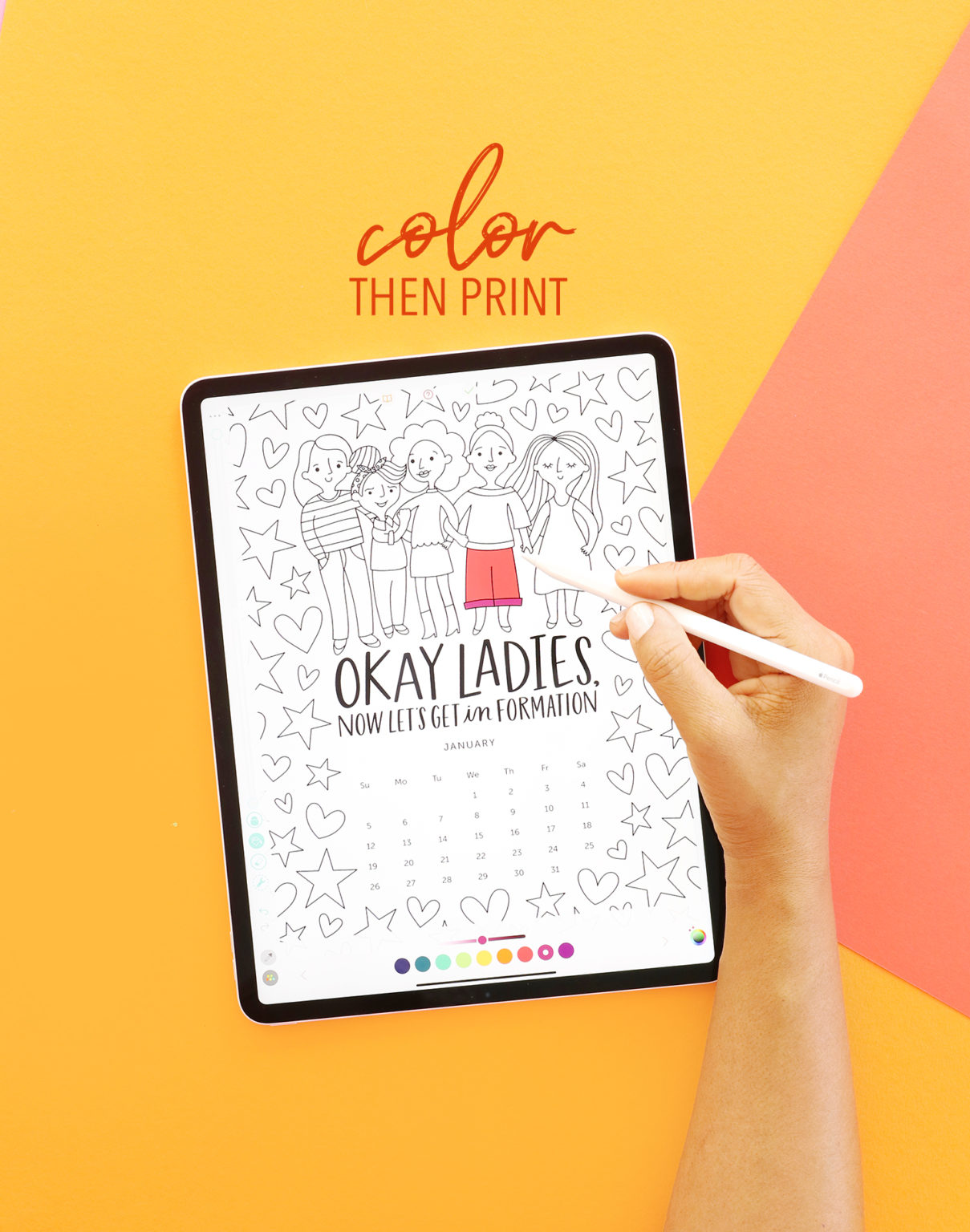 GRL PWR 2020 Printable  Coloring Page Calendar and Book
